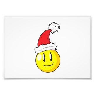 Happy Yellow Billiard Ball Christmas Red Santa Hat Photo Print