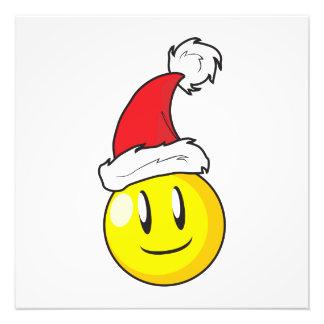 Happy Yellow Billiard Ball Christmas Red Santa Hat Photo
