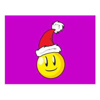 Happy Yellow Billiard Ball Christmas Red Santa Hat Post Cards