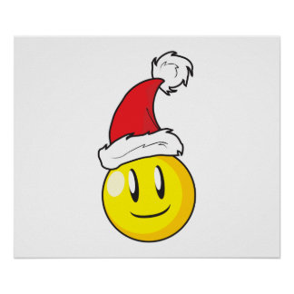 Happy Yellow Billiard Ball Christmas Red Santa Hat Posters