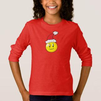 Happy Yellow Billiard Ball Christmas Red Santa Hat T-Shirt