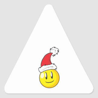 Happy Yellow Billiard Ball Christmas Red Santa Hat Triangle Sticker