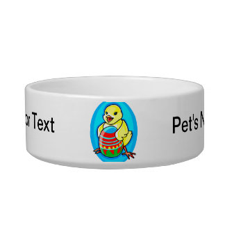 happy yellow chick big egg blue oval cat bowl