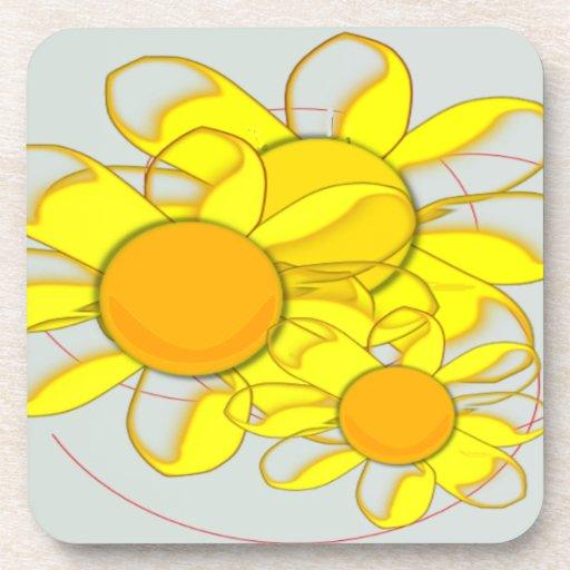 Happy Yellow Flowers Drink Coaster