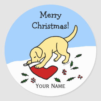 Happy Yellow Lab Christmas Cartoon Stickers