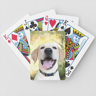 Happy yellow lab bicycle playing cards