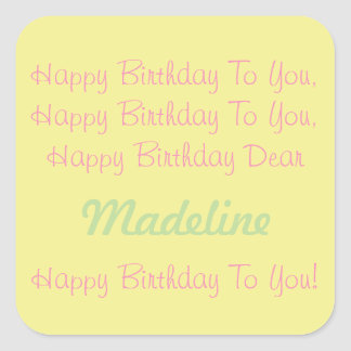 Happy Yellow Pink Mint Personalized Birthday Song Square Sticker