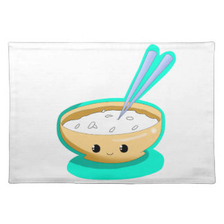 Happy Yellow Rice Bowl Tablemat Cloth Placemat