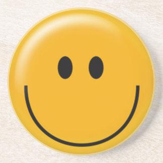 Happy yellow smiley face beverage coasters