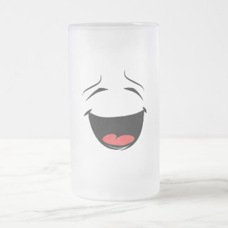 Happy Yellow Smiley Face Frosted Glass Beer Mug