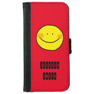 happy yellow smiley face wallet phone case for iPhone 6/6s