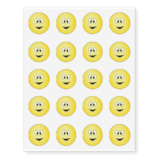 Happy Yellow Smiley Faces Temporary Tattoos