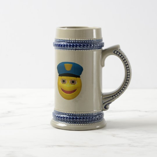 Happy yellow smiley policeman beer stein
