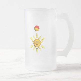 Happy yellow smiley sun playing with a ball frosted glass beer mug