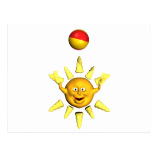 Happy yellow smiley sun playing with a ball postcard