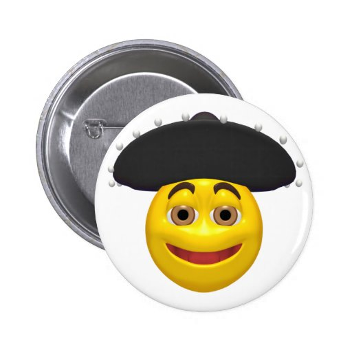 Happy yellow smiley wearing a mexican hat pinback buttons
