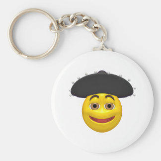Happy yellow smiley wearing a mexican hat keychain