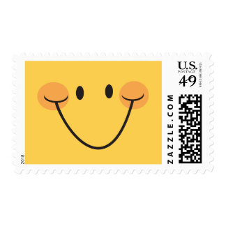 Happy yellow smiley with big smile postage stamps