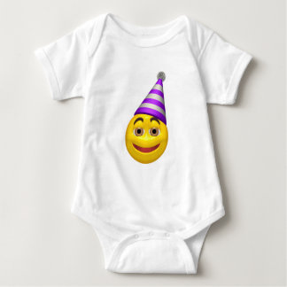Happy yellow smiley with party hat baby bodysuit