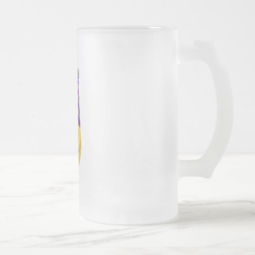 Happy yellow smiley with party hat 16 oz frosted glass beer mug