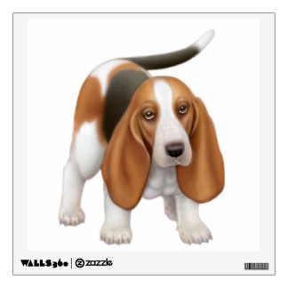 Happy Young Basset Hound Dog Wall Decal