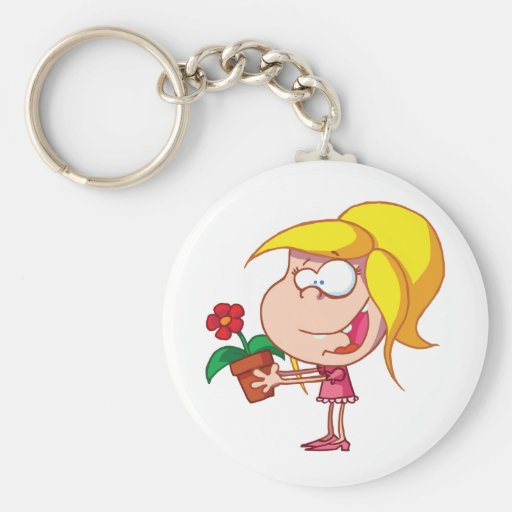 Happy-young-girl-giving-potted-flower Basic Round Button Keychain