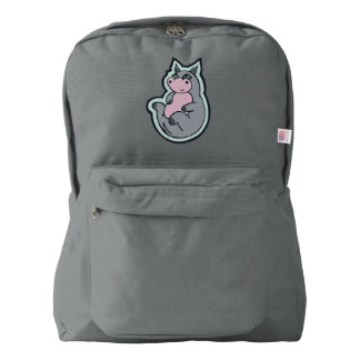 Happy Young Gray Hippo Drawing Design Backpack