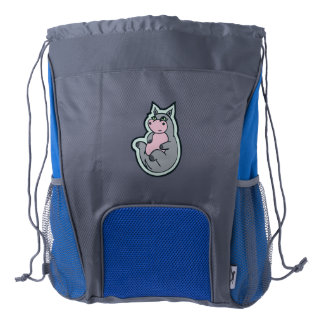 Happy Young Gray Hippo Drawing Design Drawstring Backpack