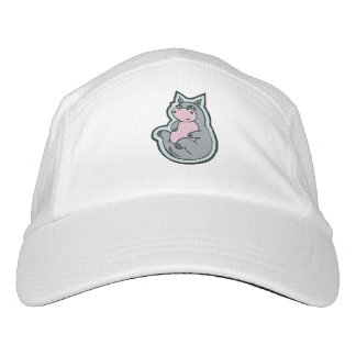 Happy Young Gray Hippo Drawing Design Headsweats Hat