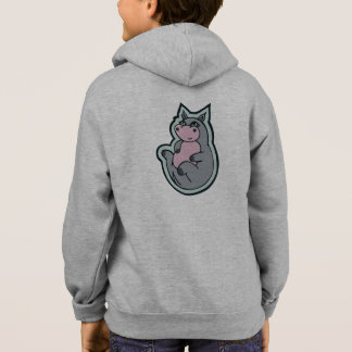 Happy Young Gray Hippo Drawing Design Hoodie