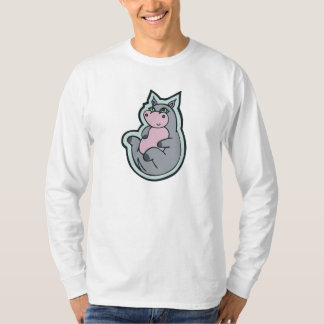 Happy Young Gray Hippo Drawing Design T-Shirt