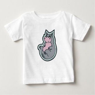 Happy Young Gray Hippo Drawing Design Tee Shirt