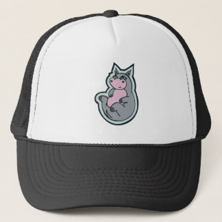 Happy Young Gray Hippo Drawing Design Trucker Hat