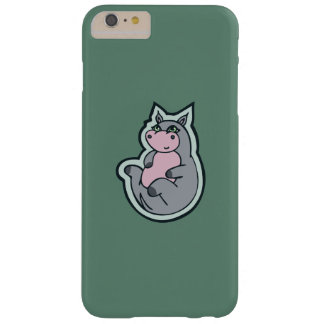 Happy Young Gray Hippo Teal Drawing Design Barely There iPhone 6 Plus Case
