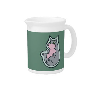 Happy Young Gray Hippo Teal Drawing Design Beverage Pitcher
