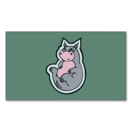 Happy Young Gray Hippo Teal Drawing Design Business Card Magnet