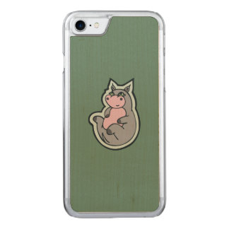 Happy Young Gray Hippo Teal Drawing Design Carved iPhone 7 Case