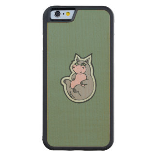 Happy Young Gray Hippo Teal Drawing Design Carved Maple iPhone 6 Bumper Case