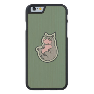 Happy Young Gray Hippo Teal Drawing Design Carved Maple iPhone 6 Case