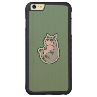Happy Young Gray Hippo Teal Drawing Design Carved Maple iPhone 6 Plus Bumper Case