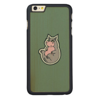 Happy Young Gray Hippo Teal Drawing Design Carved Maple iPhone 6 Plus Case