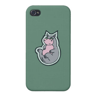 Happy Young Gray Hippo Teal Drawing Design Case For iPhone 4