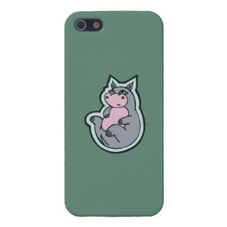 Happy Young Gray Hippo Teal Drawing Design Case For iPhone SE/5/5s