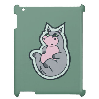 Happy Young Gray Hippo Teal Drawing Design Case For The iPad 2 3 4
