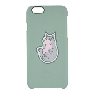 Happy Young Gray Hippo Teal Drawing Design Clear iPhone 6/6S Case