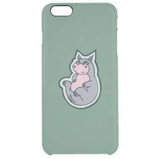 Happy Young Gray Hippo Teal Drawing Design Clear iPhone 6 Plus Case