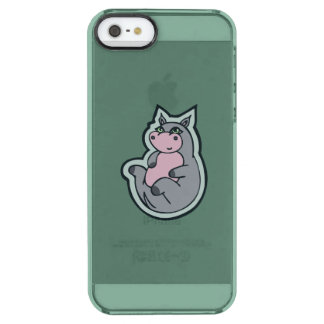 Happy Young Gray Hippo Teal Drawing Design Clear iPhone SE/5/5s Case