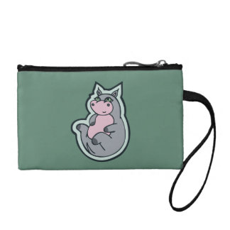 Happy Young Gray Hippo Teal Drawing Design Coin Wallet