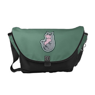Happy Young Gray Hippo Teal Drawing Design Courier Bag