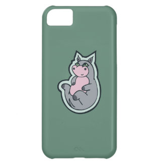Happy Young Gray Hippo Teal Drawing Design Cover For iPhone 5C